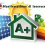 immagine pannello fotovoltaico con segnaletica colorata di efficienza energetica