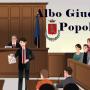 immagine disegnata aula giudiziaria con scritta albo giudici popolari