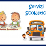 disegno scuolabus con bambini all'interno e due bambini che mangiano